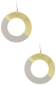 Yellow Gold Plated Crystal Dust Earrings by Tsara
