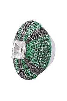 Rhodium Finish Zircon and Swarovski Textured Ring by Tsara