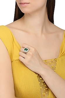 Rhodium Finish Green Emerald Stone and Zircon Ring