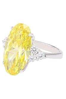 Rhodium Finish Oval Shaped Yellow and White Zircons Ring by Tsara