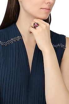Rhodium Finish Square Shaped Black and Red Zircon and Swarovski Ring by Tsara