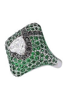 Rhodium Finish Square Shaped Black and Green Zircon and Swarovski Ring by Tsara