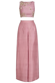 Pink Embroidered Blouse and Sharara Pants Set by Tisha Saksena