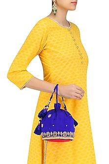 Blue and Gold Zari and Pearl Embroidery Potli Bag by Tisha Saksena
