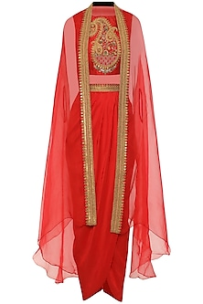 Red Embroidered Croptop with Cape and Drape Skirt