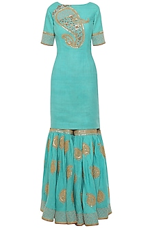 Turqoise Embroidered Kurta with Gharara Pants Set
