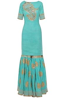 Turqoise Embroidered Kurta with Gharara Pants Set by Tisha Saksena