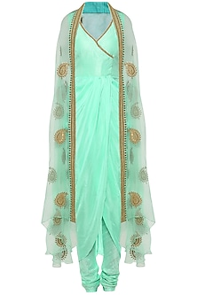 Mint Asymmetrical Drape Kurta with Embroidered Cape and Churidar Pants