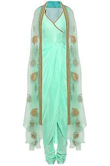 Mint Asymmetrical Drape Kurta with Embroidered Cape and Churidar Pants by Tisha Saksena