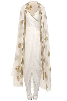 White Asymmetrical Drape Kurta with Embroidered Cape and Churidar Pants