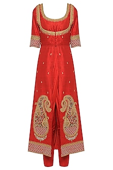 Red Drape Kurta with An Embroidered Jacket and Straight Pants
