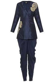 Navy Blue Embroidered Jacket with Dhoti Pants
