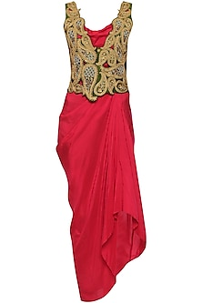 Red Asymmetrical Dress with Cutwork Embroidered Jacket