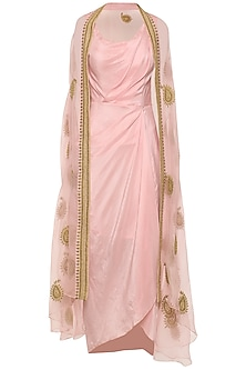Rose Pink Asymmetrical Pleated Dress with Embroidered Cape