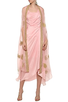 Rose Pink Asymmetrical Pleated Dress with Embroidered Cape by Tisha Saksena