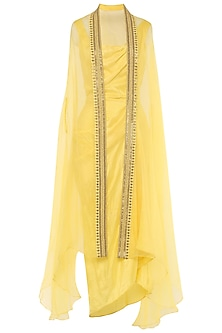 Lemon Asymmetrical Pleated Dress with Embroidered Cape