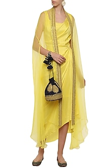 Lemon Asymmetrical Pleated Dress with Embroidered Cape by Tisha Saksena