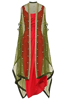 Red Asymmetrical Pleated Dress with Green Embroidered Cape
