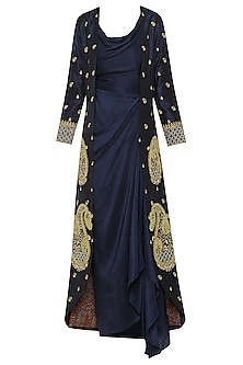 Navy Blue Asymmetrical Dress with Embroidered Jacket