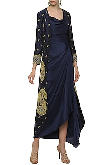 Navy Blue Asymmetrical Dress with Embroidered Jacket by Tisha Saksena
