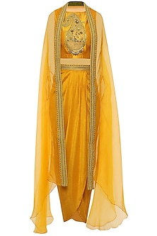 Yellow Crop Top with Embroidered Cape and Drape Skirt