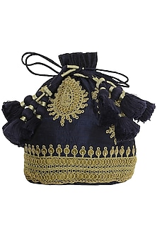 Navy Blue Floral Embroidered Potli Bag by Tisha Saksena