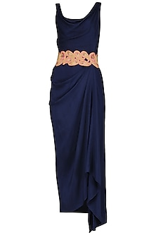 Blue Maxi Dress with Embroidered Belt