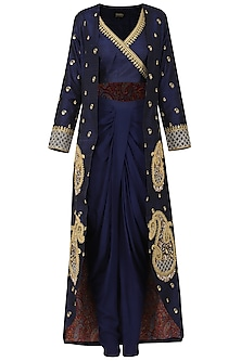 Navy Blue Embroidered Jacket with Crop Top and Dhoti Pants