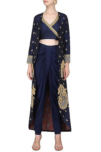 f1dcd170c Navy blue embroidered jacket with crop top and dhoti pants available only  at Pernia's Pop Up Shop.