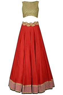 Red and Green Lehenga Set with Cape