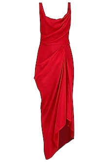 Red Drape Dress with Embroidered Cape