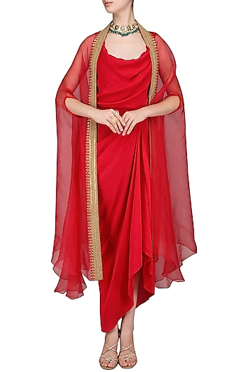 Red Drape Dress with Embroidered Cape by Tisha Saksena