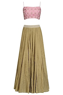 Pink Embroidered Crop Top, Cape and Gold Lehenga Set by Tisha Saksena