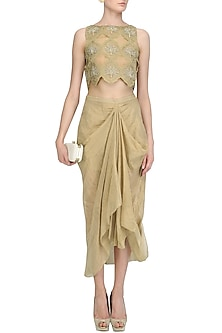 Gold Hand Embroidered Crop Top and Drape Skirt Set by Tisha Saksena