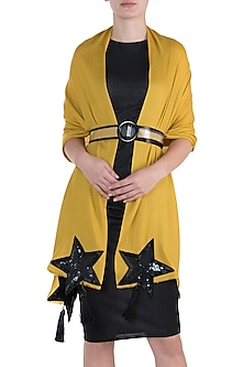 Yellow star tassel scarf by The Scarf Story