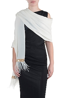 Off white feather border scarf by The Scarf Story