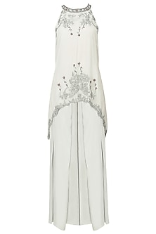 Pearl Grey Embroidered Tunic with Pleated Palazzo Pants