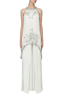 Pearl Grey Embroidered Tunic with Pleated Palazzo Pants by Tara Thakur