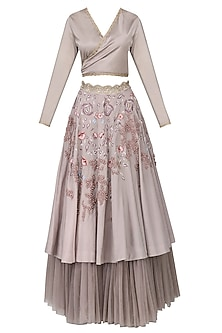Mauve Embroidered Lehenga Set