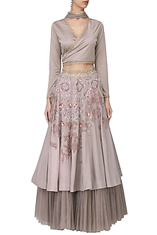 Mauve Embroidered Lehenga Set by Tara Thakur