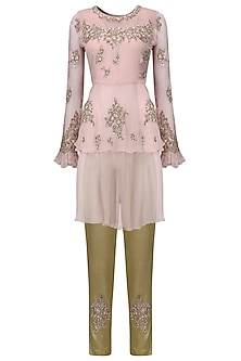 Blush Pink Layered Tunic with Brocade Trousers