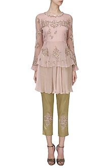 Blush Pink Layered Tunic with Brocade Trousers by Tara Thakur