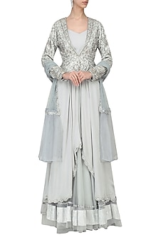 Pearl Grey Embroidered Lehenga with Tunic and Jacket Set by Tara Thakur