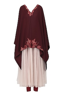 Burgundy Embroidered Kaftan with Legging Set