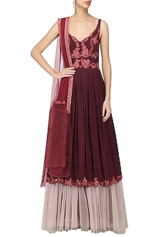 Cherry Red Embroidered Anarkali Set by Tara Thakur