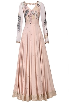 Blush Pink Embroidered Anarkali Set
