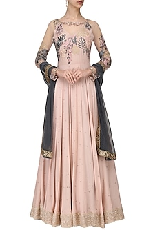 Blush Pink Embroidered Anarkali Set by Tara Thakur