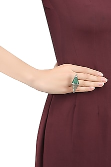 Silver Finish Emerald Semi Precious Double Triangle Ring by Tanvi Garg