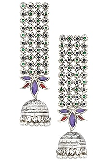 Antique Silver Finish Glass Stone Jhumki Drop Earrings by Tanvi Garg