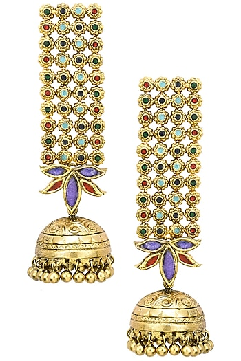Antique Gold Finish Glass Stone Jhumki Drop Earrings by Tanvi Garg